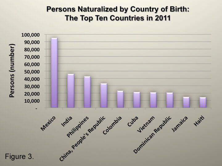 Naturalization by Country of Birth 2011