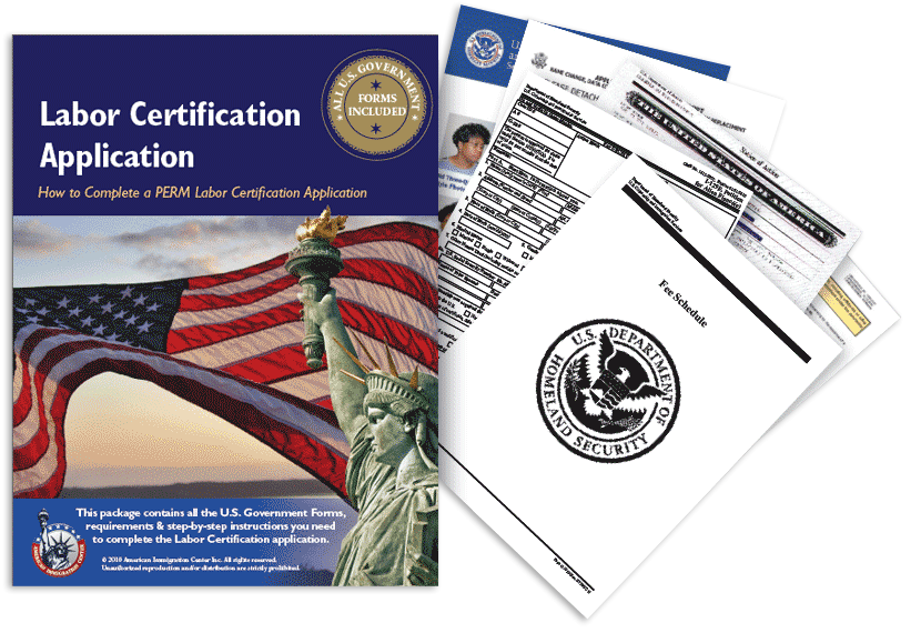 labor certification application immigration package guide card certificate form